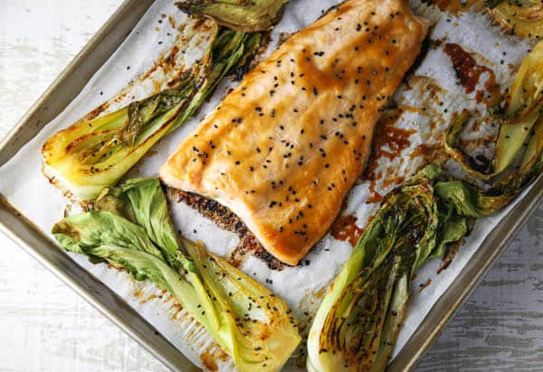 Sheet Pan Miso Glazed Salmon with Bok Choy