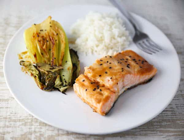 Miso Glazed Salmon with Bok Choy on a plate
