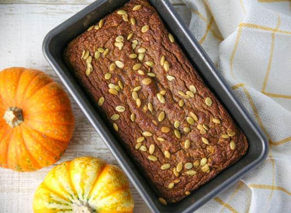 Gluten Free Pumpkin Bread in a pan