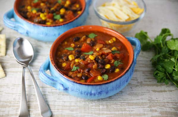 Instant Pot Lentil and Black Bean Chili in bowls