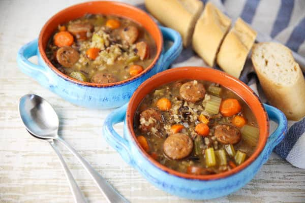 Italian Sausage and Wild Rice Soup with baguette