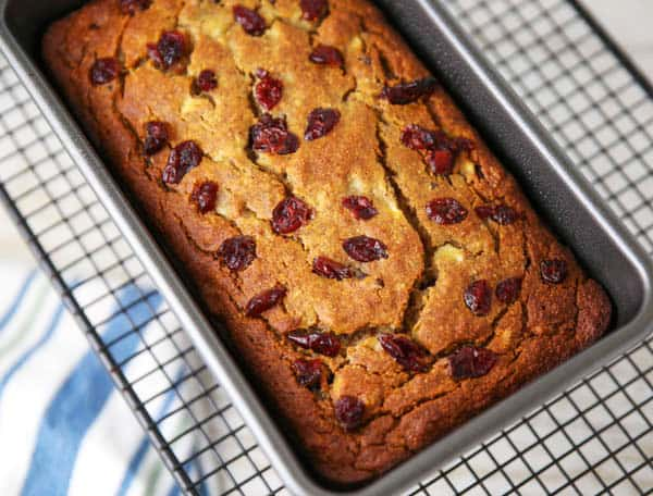 Cranberry Banana Bread in a pan