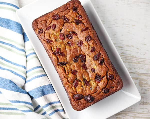 Cranberry Banana Bread on a plate