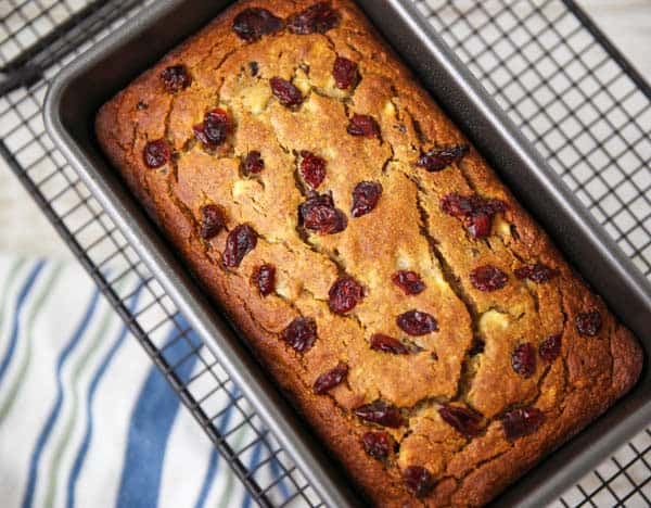 Cranberry Banana Bread cooling on a wire rack