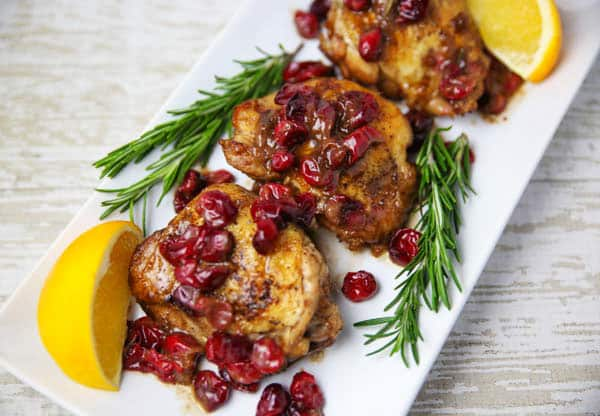 Cranberry Orange Chicken Thighs with Rosemary plated
