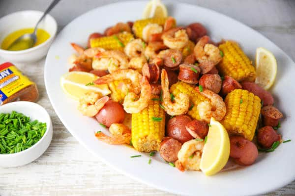 Instant Pot Shrimp Boil on a platter
