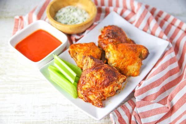 Air Fryer Buffalo Chicken Thighs with celery