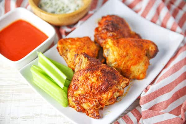 Air Fryer Buffalo Chicken Thighs with blue cheese