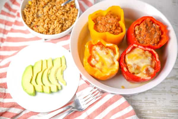 Instant Pot Mexican Chicken Stuffed Peppers plated