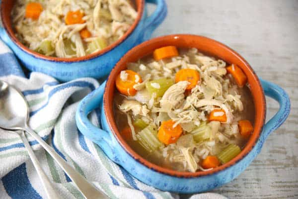 Slow Cooker Chicken and Rice Soup with Lemon in a bowl