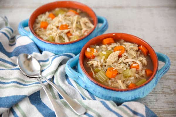 Slow Cooker Chicken and Rice Soup with Lemon