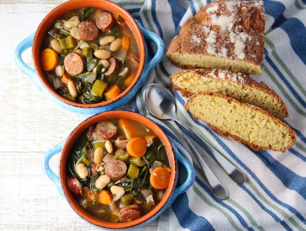 Spicy Sausage and White Bean Soup with Spinach