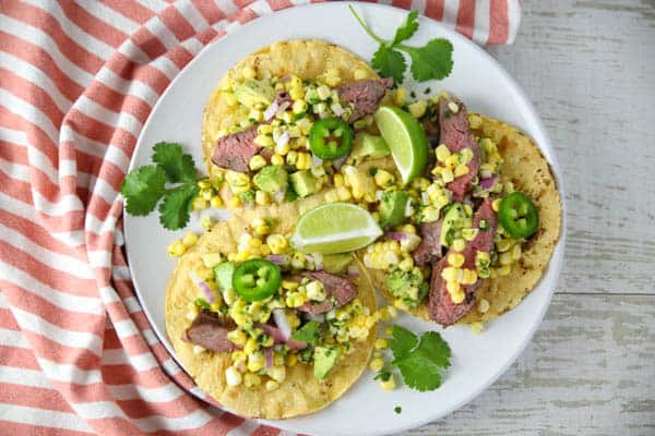 Flank Steak Tacos with Avocado Corn Salsa