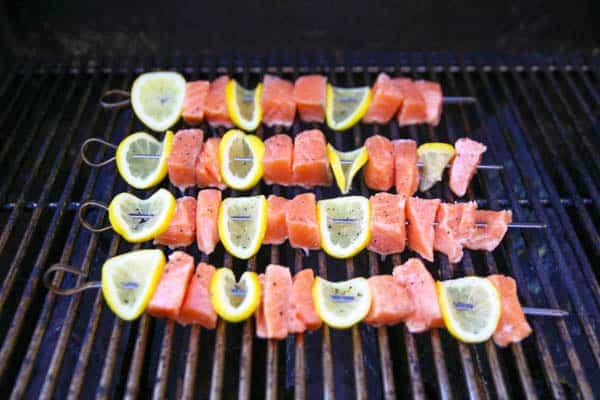 Lemon Salmon Skewers on the grill