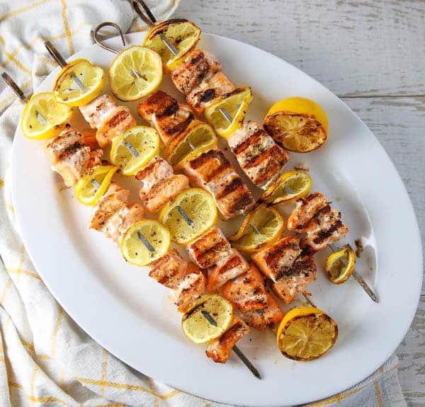 Grilled Lemon Salmon Skewers on a platter