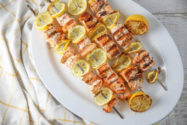 Grilled Lemon Salmon Skewers a plate