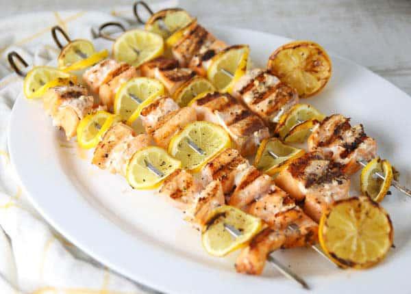 Grilled Lemon Salmon Skewers