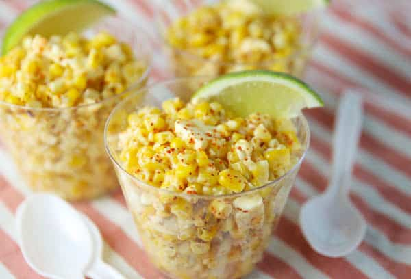 Mexican Street Corn in cups with spoons