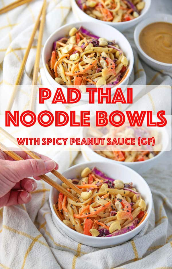 Pad Thai Noodle Bowl with Spicy Peanut Sauce