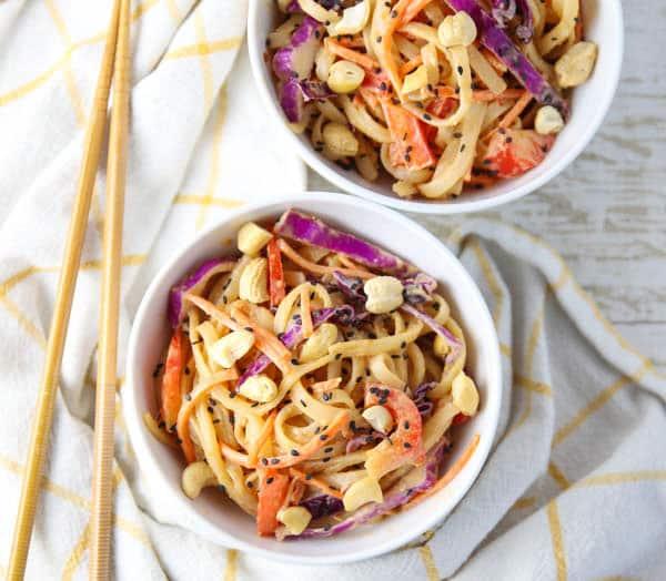 Pad Thai Noodle Bowl with chopsticks