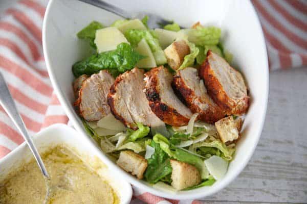 Blackened Chicken Caesar Salad in a bowl