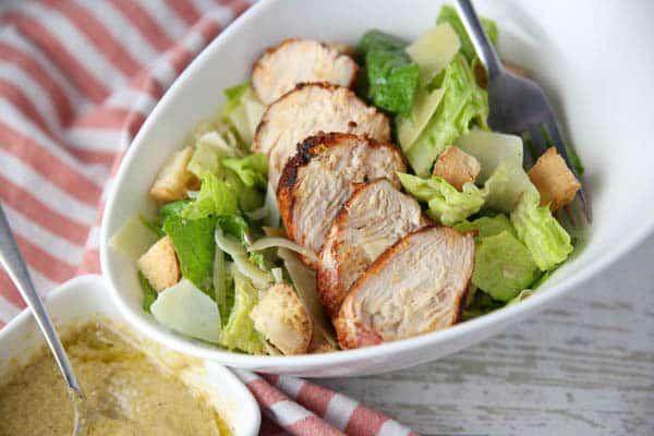 Blackened Chicken Caesar Salad with a fork
