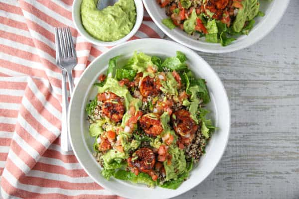 Blackened Shrimp Quinoa Salad with Avocado Cilantro Dressing