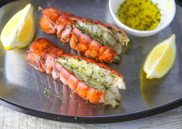 Easy Grilled Lobster Tails on a platter