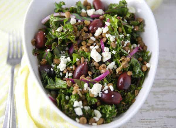 Mediterranean Lentil and Kale Salad in a bowl