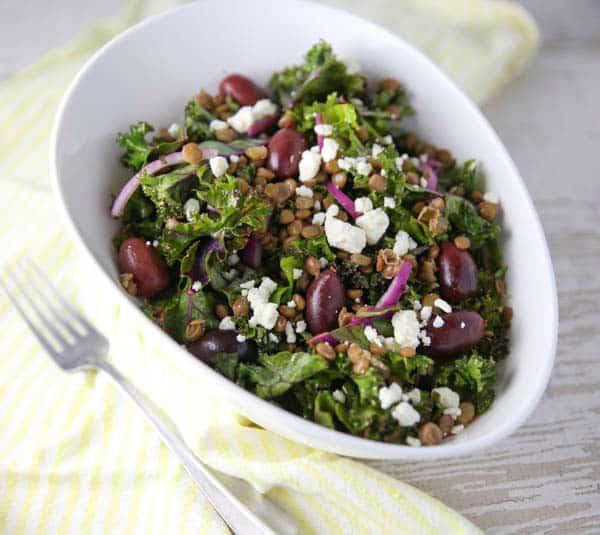 Mediterranean Lentil and Kale Salad on a table