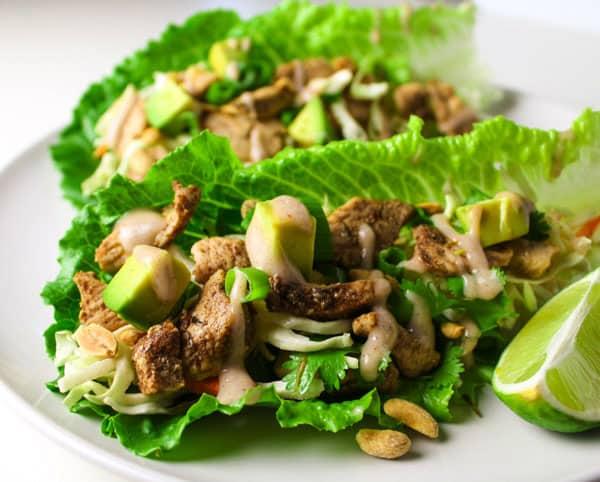 Caribbean Jerk Chicken Lettuce Wraps - Tastefulventure